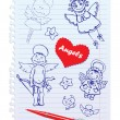 Set of Hand-Drawn Sketchy Angels on Lined Notebook Paper Background — Imagens vectoriais em stock