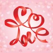 Valentine`s Day card with hearts and word LOVE is made by red ribbon — Stockvektor