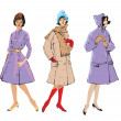 Set of elegant women - retro style fashion models — Imagen vectorial