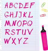 Alphabet set - letters are made by marker. — Stock Vector