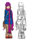 Winter cute girl dressing stripped scarf — Wektor stockowy