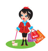 Funny Girl with dog go shopping in sale time — Stock Vector