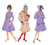 Set of elegant women - retro style fashion models — Vector de stock
