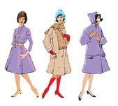 Zarif kadın - retro tarzı moda modelleri kümesi — Stok Vektör