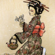 Tea ceremony in Japanese style: geisha - Stock Photo