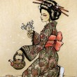 Teceremony in Japanese style: geisha — Stock Photo #8643683