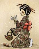 Cérémonie du thé dans le style japonais: geisha — Photo