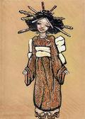 Young funny asian girl dressing traditional costume - Kimono — Stock Photo
