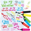 Stock Vector: Set of different colors markers Valentine`s Day design