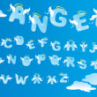 Alphabet with funny angels letters and clouds — 图库矢量图片