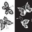 Set of silhouette butterflies collection on white — Stockvektor