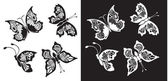 Set of silhouette butterflies collection on white — Stock Vector