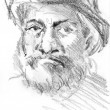 Middle age man`s portrait with hat, hand drawn sketch by pencil — 图库照片