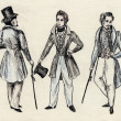 Fancy men 18 century. part 5 — 图库照片