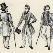 Fancy men 18 century. part 5 - Stock Photo