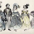 Stock Photo: Group of fancy man and women 18 century. part 3