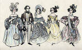 Group of fancy man and women 18 century. part 3 — Stock Photo