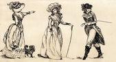 派手な男性と女性 19 世紀。パート 2. — ストック写真
