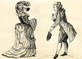 Fancy man and woman 18 century. part 1 — Stock Photo