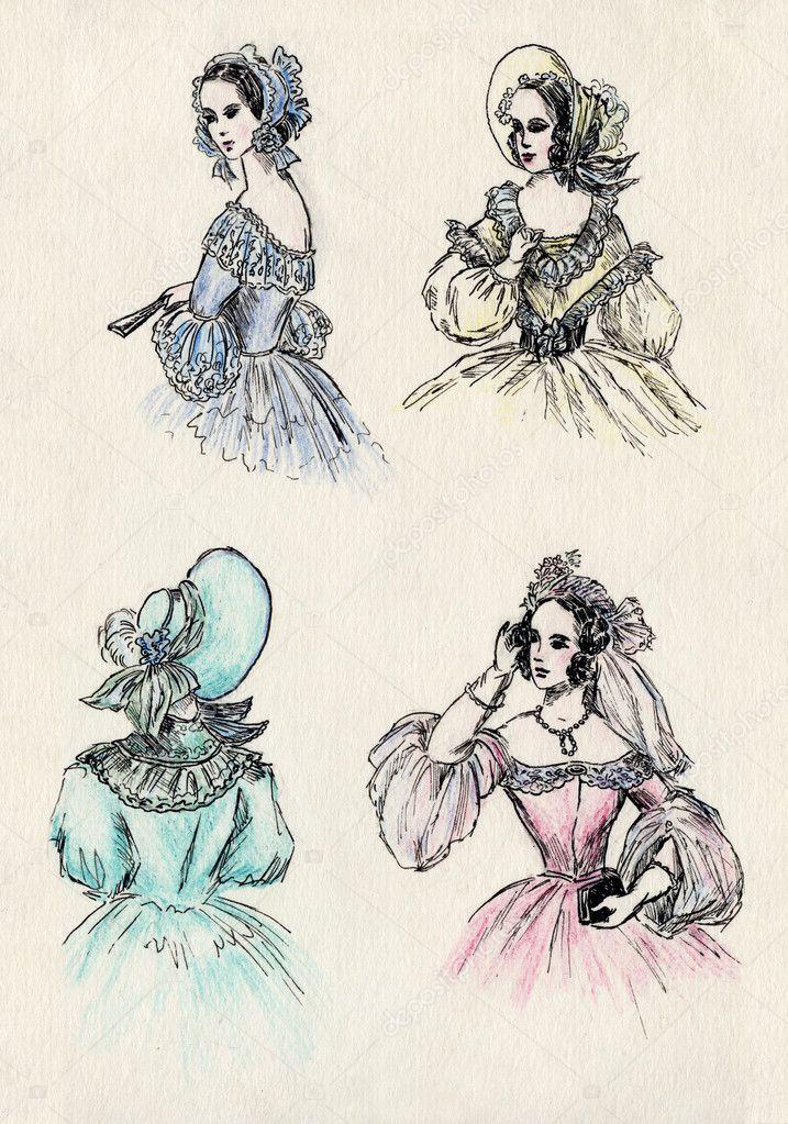 Женщины 18 века рисунки
