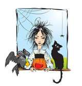 Baby witch with black cat, raven and spider looking out the window — Stock Vector