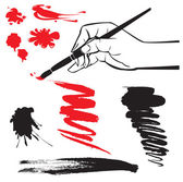 Set of black and red blots and hand with brush on the white background — Stock Vector