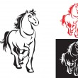 Horses on white or black backgrounds — Stock Vector
