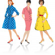 Set of elegant women - retro style fashion models — Stok Vektör #8910140