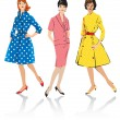 Set of elegant women - retro style fashion models — Vector de stock #8910140