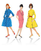 Conjunto de mujer elegante - modelos de moda de estilo retro — Vector de stock