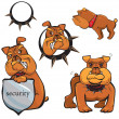 Stock Vector: Set of Bulldog cartoons