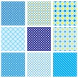 Stock Vector: Set of seamless patterns with fabric checked textures