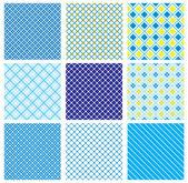 Uppsättning seamless mönster med tyget kollade texturer — Stockvektor