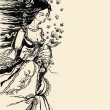 Ink Illustration of a female allegory of spring with flowers and butterflie — Stock Photo