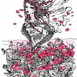 Ink Illustration of a female allegory of summer — Stock Photo