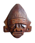 Wood handmade Peru statue - god Tumi - isolated on white background — Stock Photo
