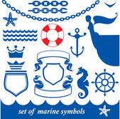 Conjunto de elementos marinos — Vector de stock