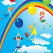 Cute girls flying away on balloons on sky background — Stock vektor