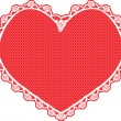 Heart shape lace doily, white on red background — Image vectorielle
