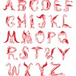 Dragon alphabet, fantasy dragon font — Vettoriale Stock #9319328