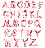 δράκος αλφάβητο, φαντασία δράκος γραμματοσειρά — Διανυσματικό Αρχείο