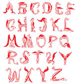 Dragon alfabet, fantasie draak lettertype — Stockvector
