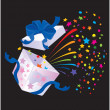 Stockvector : Open Gift Box with rainbow colors confetti