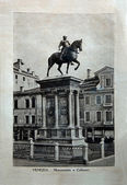 "ITALY - CIRCA 1910: A picture printed in Italy shows image of Monumento a Colleoni in Venice, Vintage postcards ""Italy"" series, circa 1910 — Stock Photo"