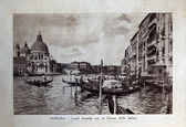 "ITALY - CIRCA 1910: A picture printed in Italy shows image of Grand Canal con la Chiesa della Salute in Venice, Vintage postcards ""Italy"" series, circa 1910 — 图库照片"