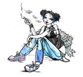 Girl angel hippie smoking cigarette - hand drawn illustration — Stock Photo