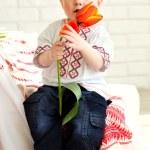 Little boy in traditional ukrainian costume — Stock Photo