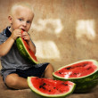 Little boy and watermelon — Stock Photo