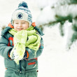 Portrait of a little boy playing with snow outdoors in a winter forest — Stock Photo