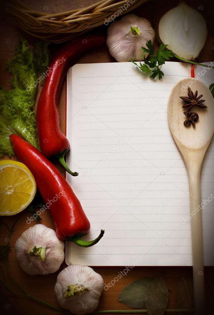 Notebook for culinary recipes and Meal Ideas with Space for Text — Stock Photo #9480781